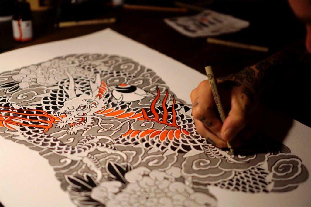 Entwurf für ein japanisches Backpiece Tattoo