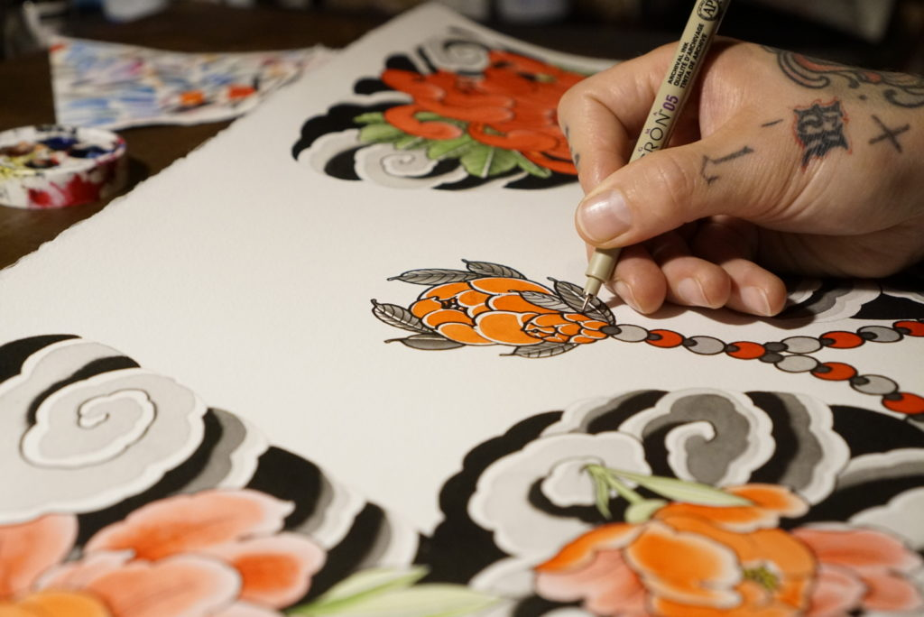 swen losinsky is preparing japanese tattoo art made to last