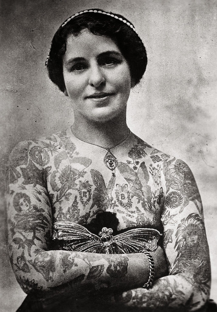 vintage woman with traditional tattoos