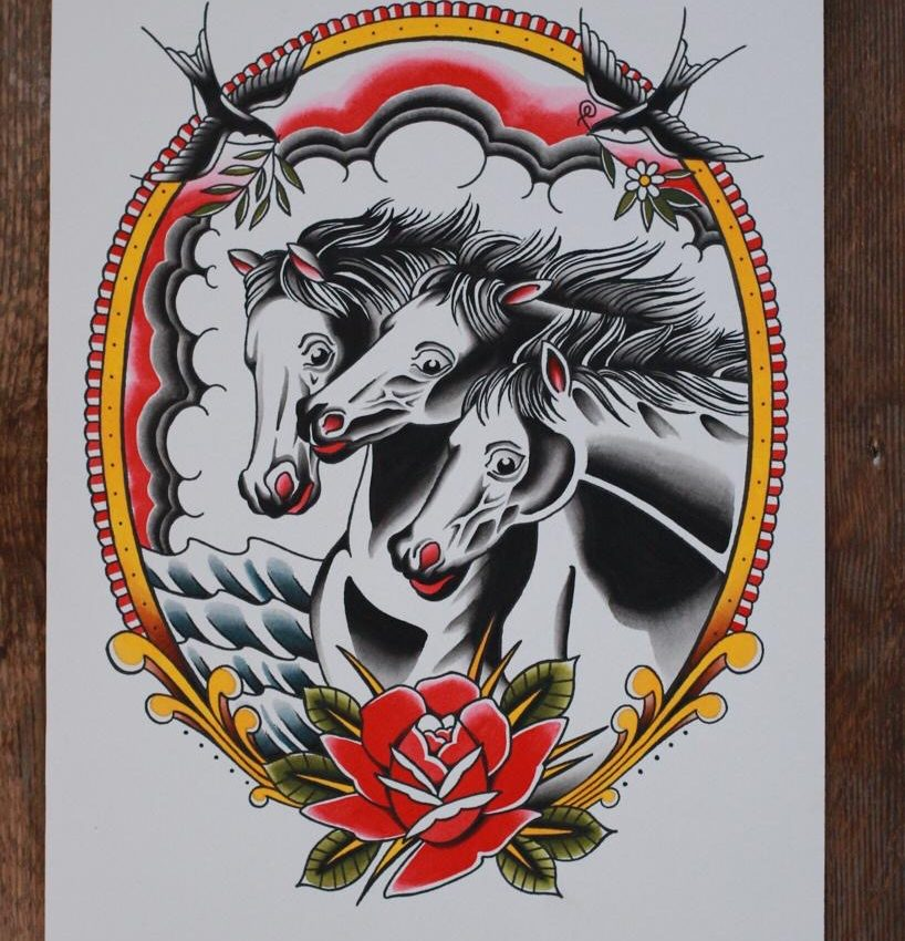 Pharaohs Horses Tattoo Flash