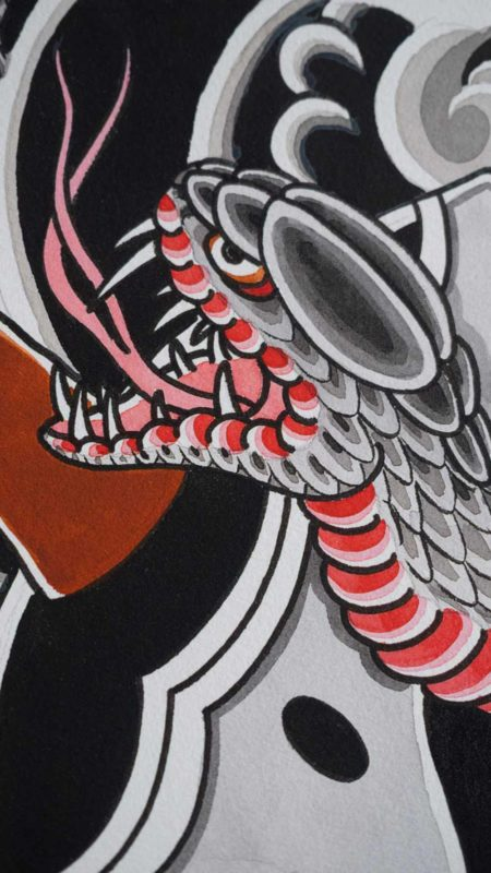 details of the hannya-and-snake-backpiece
