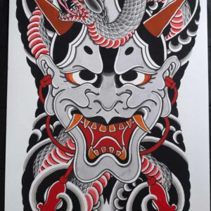 full view of the hannya-and-snake-backpiece