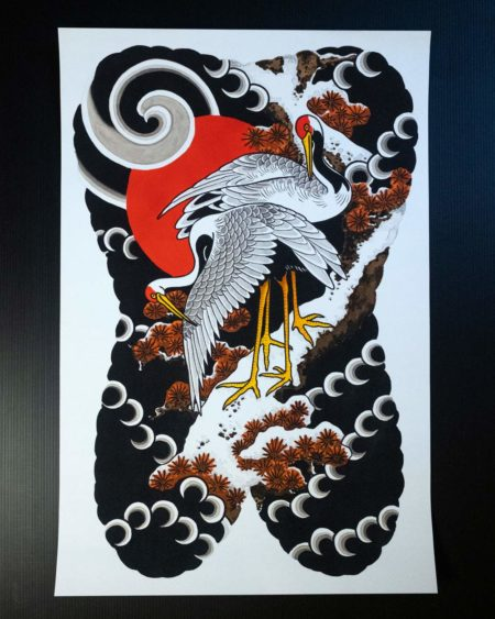 painted backpiece of Japanese cranes