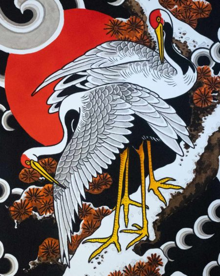Details of Japanese cranes backpiece